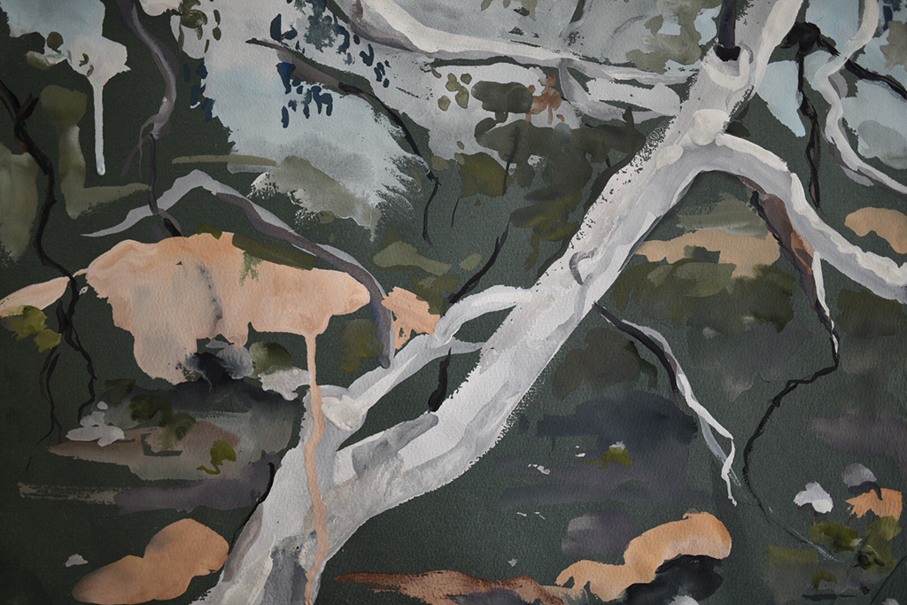 Holly-Greenwood,-Amongst-the-gums,-Hill-End.-Gouache-on-coloured-paper