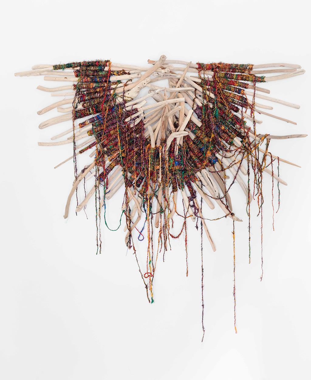 Angel-Fish,-Driftwood-raw-silk-fibre,-80x88x20cm-$7800