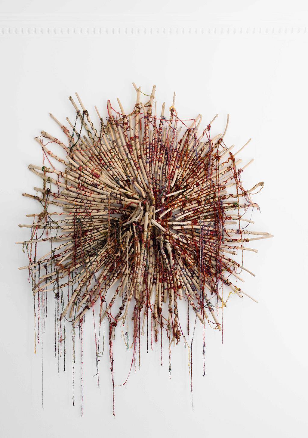Clownfish,-Driftwood,-raw-silk-fibre,-170x160x20cm,-$12,800