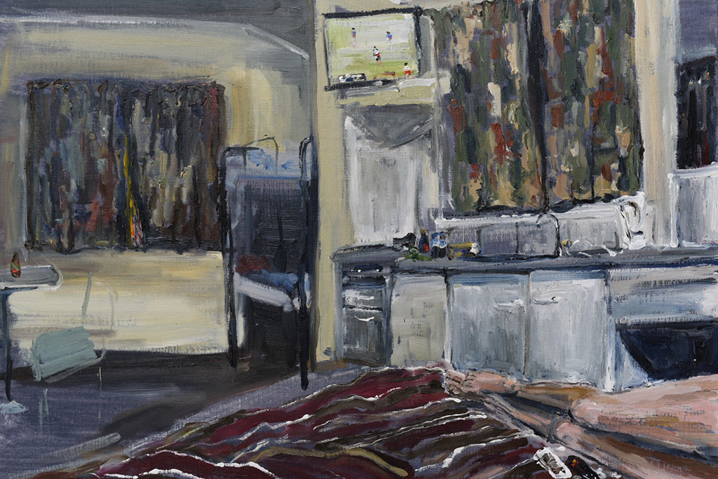 Footy-in-the-cabin.-Oil-on-canvas-paper-62cmx44cm-