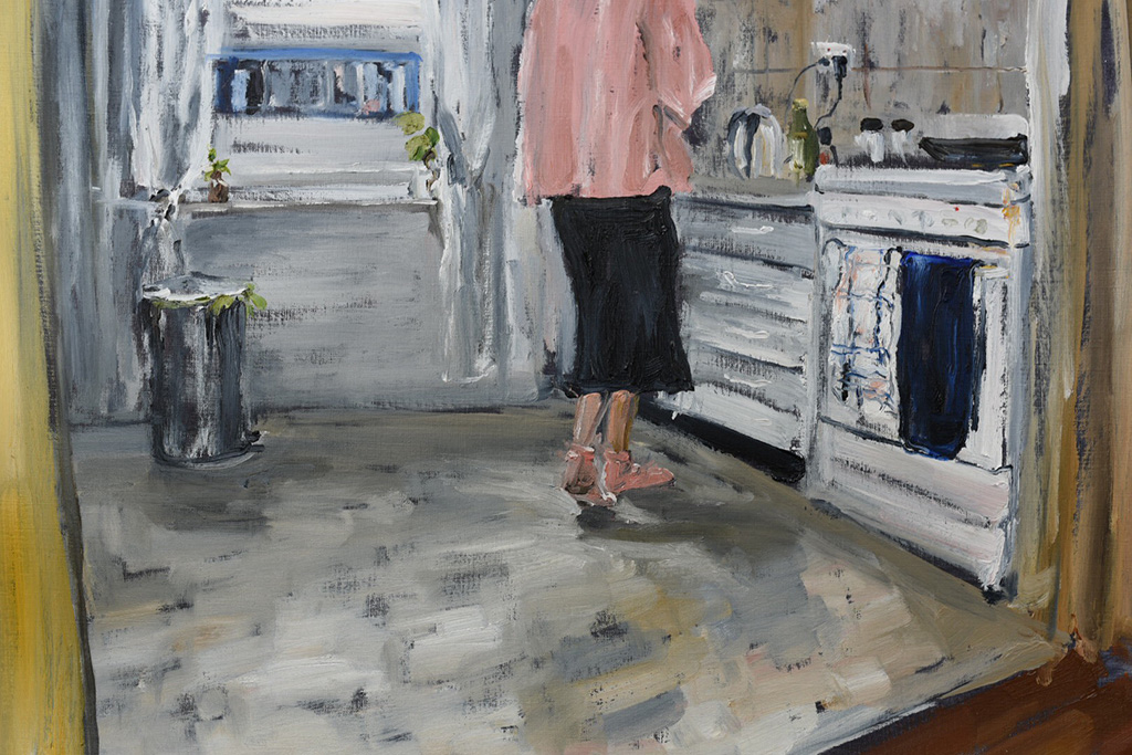 Pink-socks-and-pancakes.-Oil-on-canvas-paper-62cmx44cm